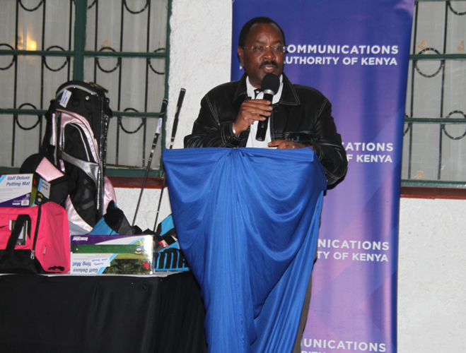 KECOSO Chairman, Mutua Muthusi, addresses guests during prize-giving at Eldoret Golf Club